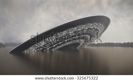 UFO crash into a lake - stock photo