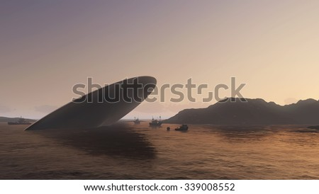 UFO crash into a sea - stock photo