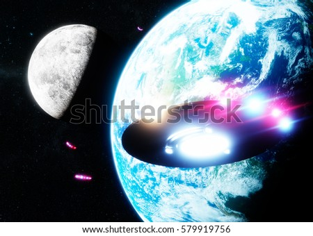 Ufo flying across the earth and the moon. 3d rendering. Elements of this image furnished by NASA.
