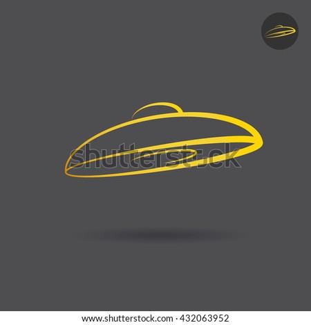 Ufo icon on dark background, alien invasion concept, 2d raster logo illustration, outline style - stock photo