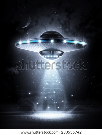 UFO in dark night - stock photo