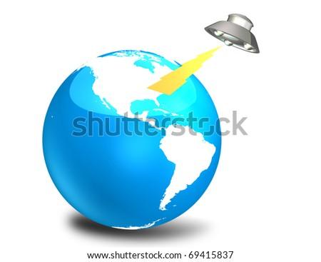 UFO invasion - stock photo