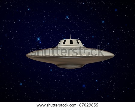 ufo isolated in the night - stock photo