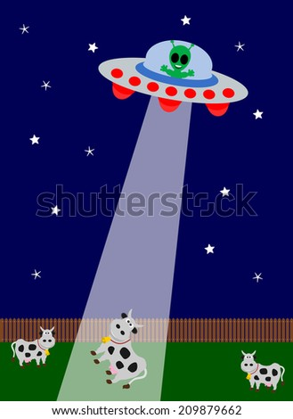 UFO kidnapping with cow - stock photo