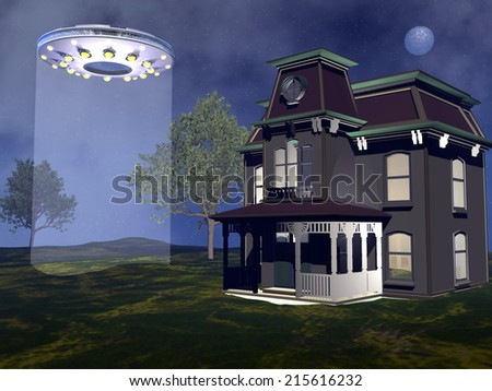 UFO landing next to a house by night - 3D render - stock photo