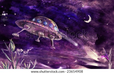 UFO landing or flying up from earth - stock photo