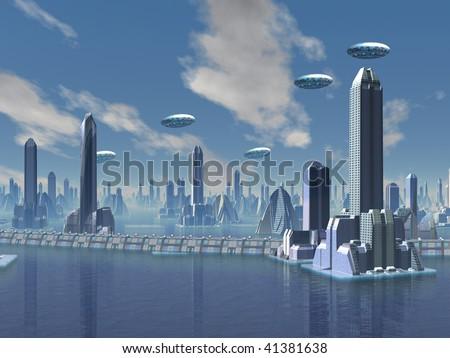 UFO over Futuristic Alien City - stock photo