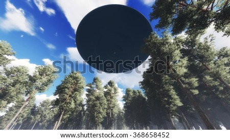Ufo over nature - stock photo