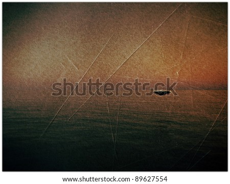 ufo over the sea in old grunge photo - stock photo