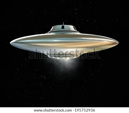 ufo spaceship flying over the stars - stock photo