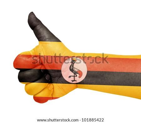 Uganda flag on thumb up gesture like icon - stock photo