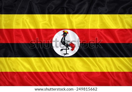 Uganda flag pattern on the fabric texture ,vintage style - stock photo