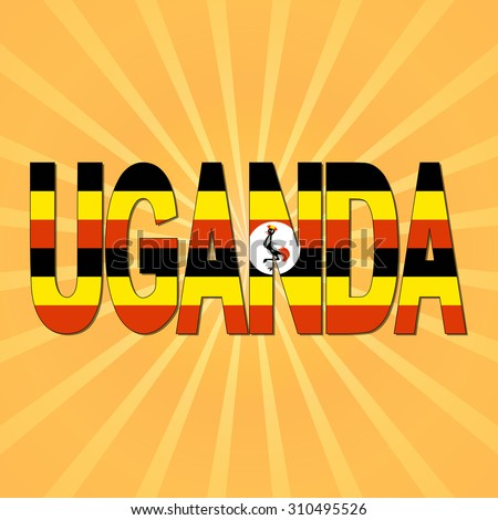 Uganda flag text with sunburst illustration - stock photo