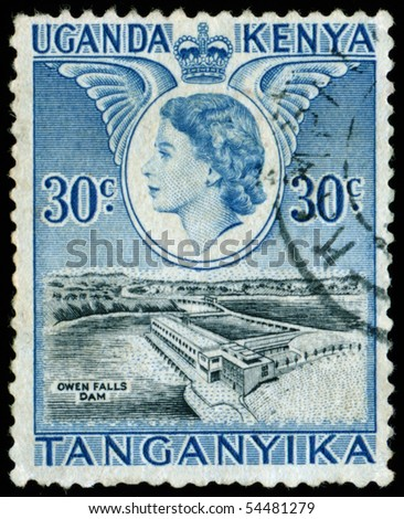 UGANDA - KENYA - TANGANYIKA - CIRCA 1954: A stamp printed in Uganda - Kenya - Tanganyika shows Elizabeth II  Queen Great Britain, circa 1954 - stock photo