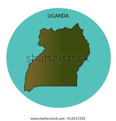 Uganda Map - stock photo