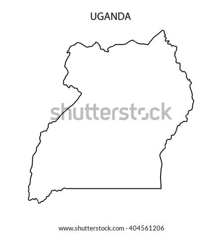 Uganda Map Outline - stock photo