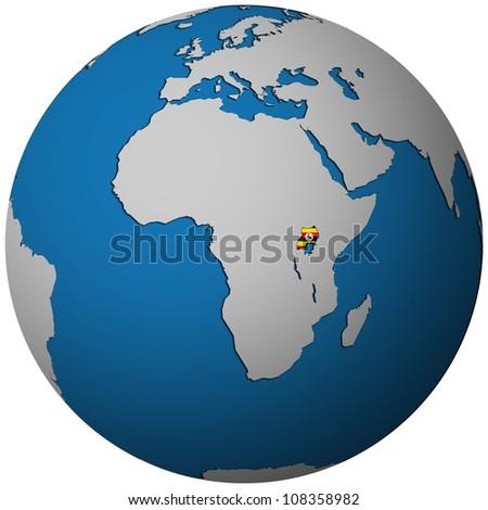 uganda territory with flag on map of globe - stock photo