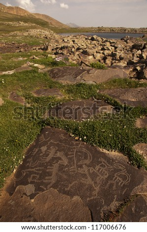 Ughtasar is the site of an important archaeological find with a large petroglyph field on top of Mt. Ughtasar. - stock photo