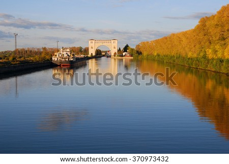 UGLICH, RUSSIA - SEPTEMBER 12, 2015: View of a lock on the Volga river, near Uglich city. Famous architectural landmark.