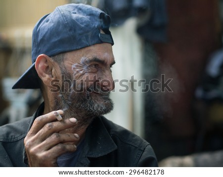 ugly homeless big smile stock photo (royalty free) 296482178