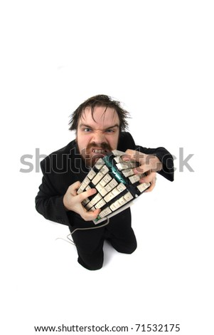 ugly man and computer - stock photo