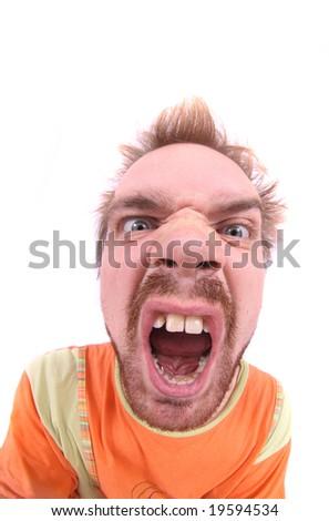 ugly man is shoving his teeth (fish eye) - stock photo