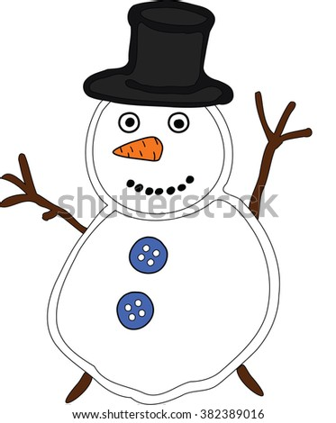 Ugly two-part snowman with black hat