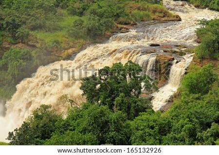 Uhuru Falls in Murchison Falls National Park , Uganda. - stock photo