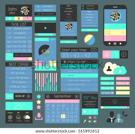 UI Flat Design Elements for Web, Infographics, Data display, Blogs and   Business presentations. - stock photo