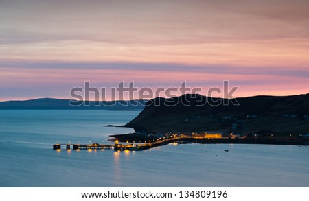 Uig harbour and village, Isle of Skye, Trotternish peninsula, Scotland - stock photo