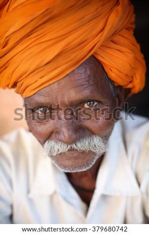 UJJAIN - INDIA - JANUARY 5, 2016: Unidentified Hindu pilgrim with turban on January 5, 2016 in Ujjain, India. Ujjain will host the world-famous Hindu pilgrimage Kumbh Mela in Mai 2016 - stock photo