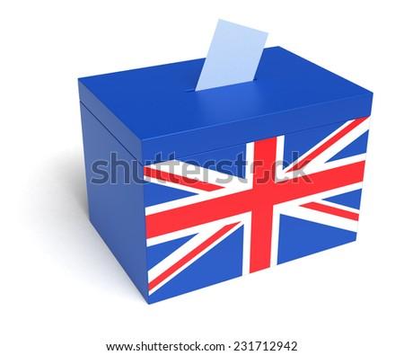 UK ballot box with British Flag. Isolated on white background. - stock photo