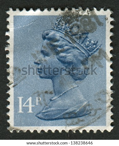 UK-CIRCA 1981:A stamp printed in UK shows image of Elizabeth II is the constitutional monarch of 16 sovereign states known as the Commonwealth realms, in Grey Blue, circa 1981.