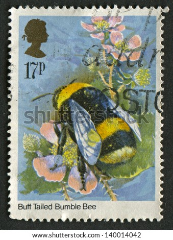 UK - CIRCA 1985: A stamp printed in UK shows image of the Bombus terrestris (bee) Insects, circa 1985.