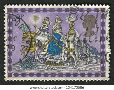 UK - CIRCA 1979: A stamp printed in UK shows image of The Magi, also referred to as the (Three) Wise Men, (Three) Kings, or Kings from the East, circa 1979.