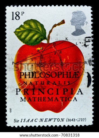 UK - CIRCA 1987: A stamp Printed in United Kingdom in the memory of Sir Isaak Newton, circa 1987 - stock photo