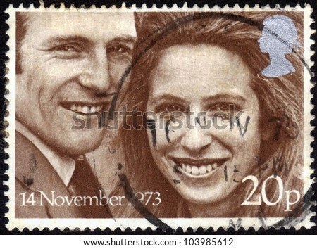 UK-CIRCA 1973: stamp printed in the United Kingdom, shows images of Princess Anne & Captain Mark Phillips,   dedicated  to Royal Wedding  ,November 14, 1973 Windsor, circa 1973 - stock photo