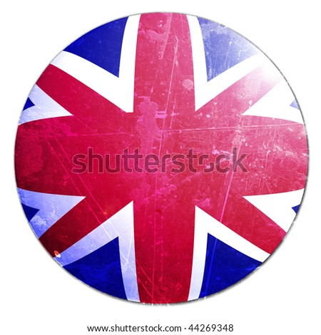 uk flag on a solid white background - stock photo