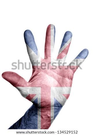 UK flag on open hand gesture like icon - stock photo