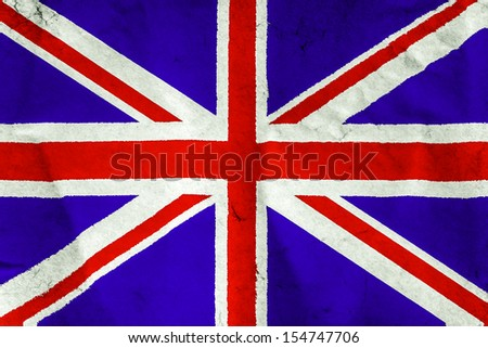 UK Flag on rough white paper surface texture background