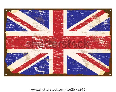 UK flag on rusty old enamel sign  - stock photo