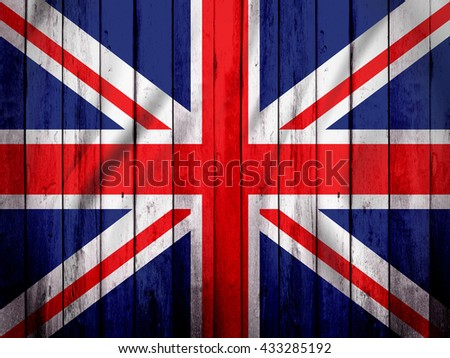UK flag on wood texture
