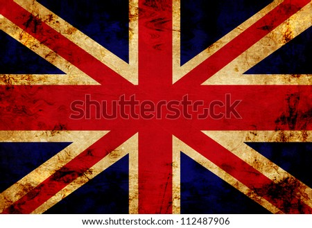 UK flag with a vintage and old look - stock photo