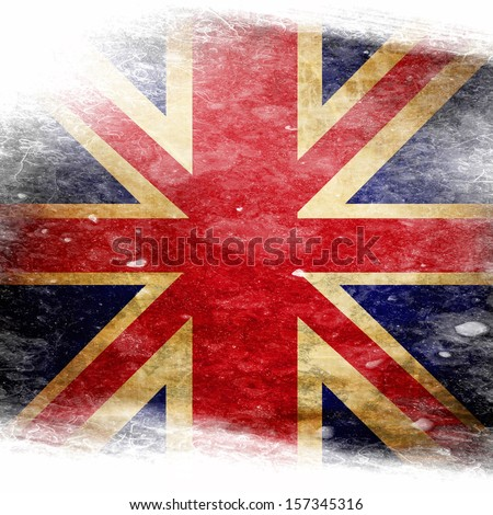 UK flag  with some grunge effects and lines - stock photo