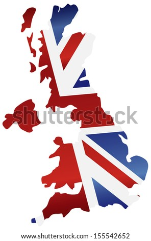 UK Great Britain Union Jack Flag in Map Silhouette Raster Illustration