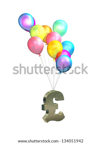 UK Inflation, rising prices, interest rates, tax rises on white background - stock photo