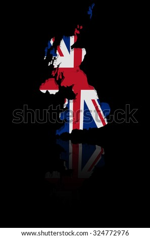 UK map flag with reflection illustration - stock photo