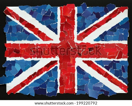 UK national flag from many pieces of torn paper - stock photo