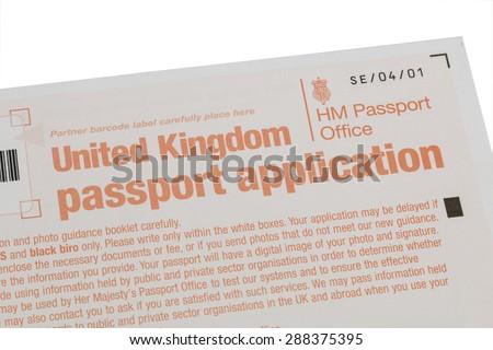 Uk Passport Application Form Isolated On Stock Photo Image