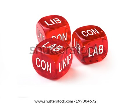 UK Political Party concept with three red dice on a white background - stock photo